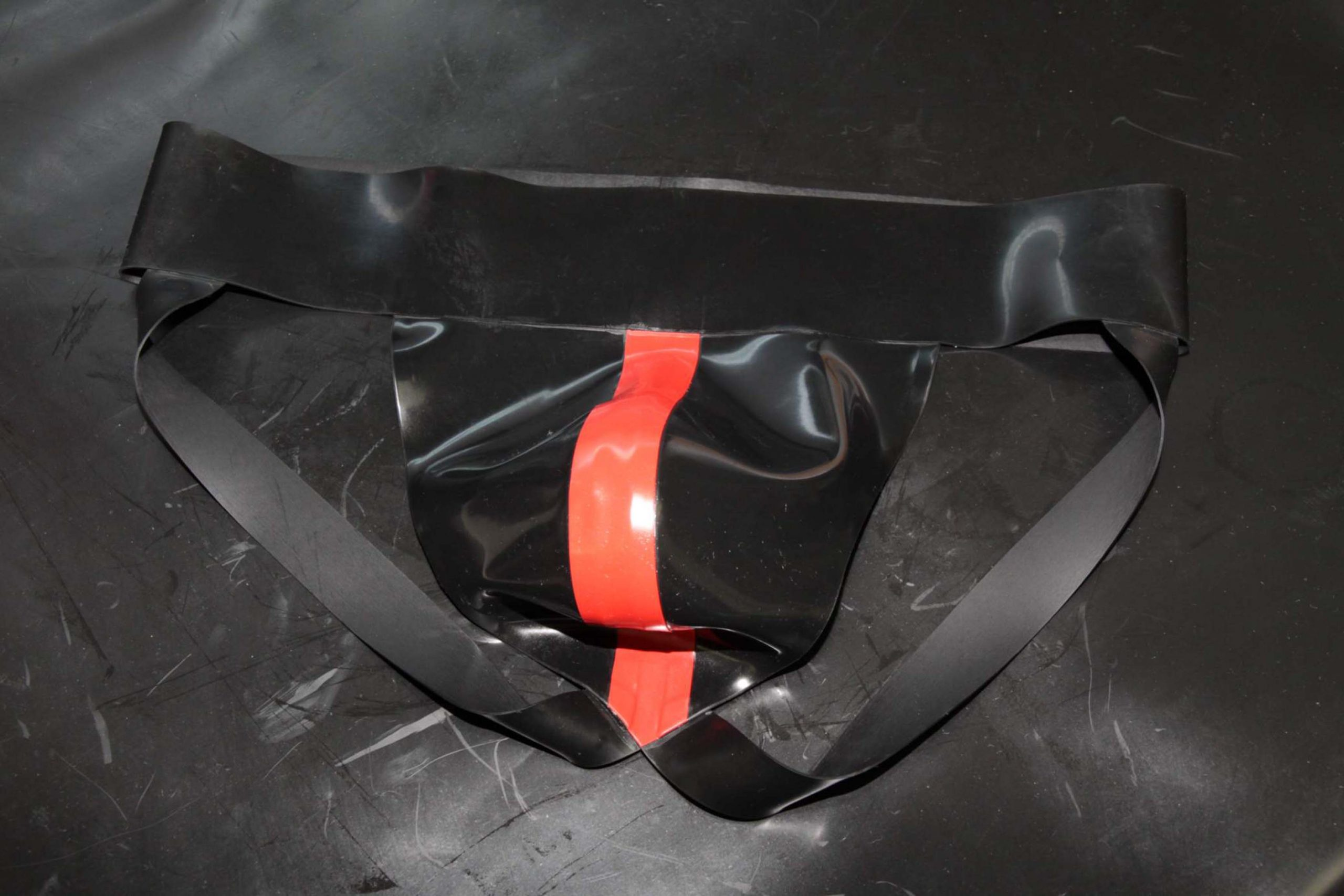 Rubber Jock – Black With Red Stripe