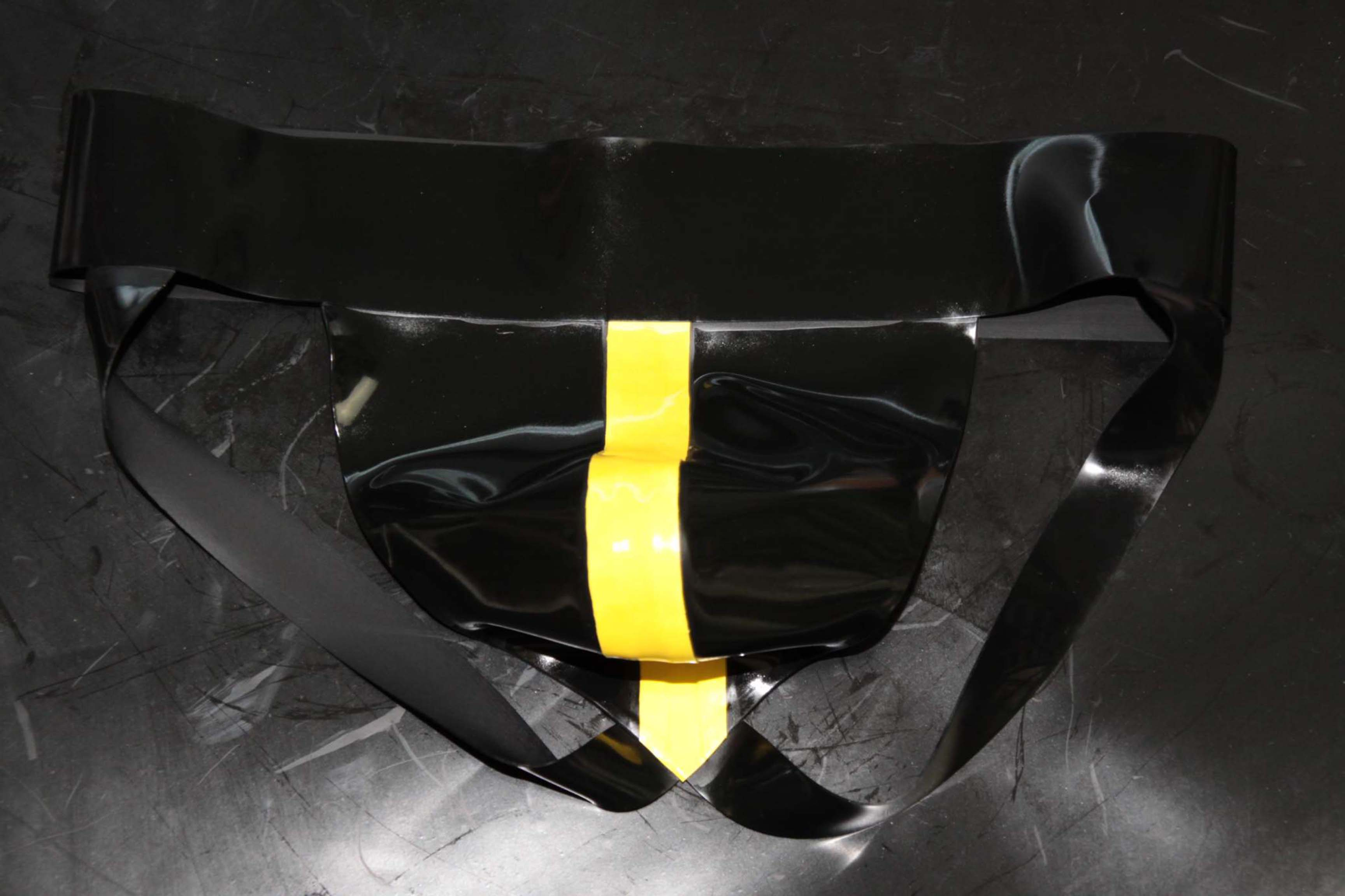 Rubber Jock – Black With Yellow Stripe