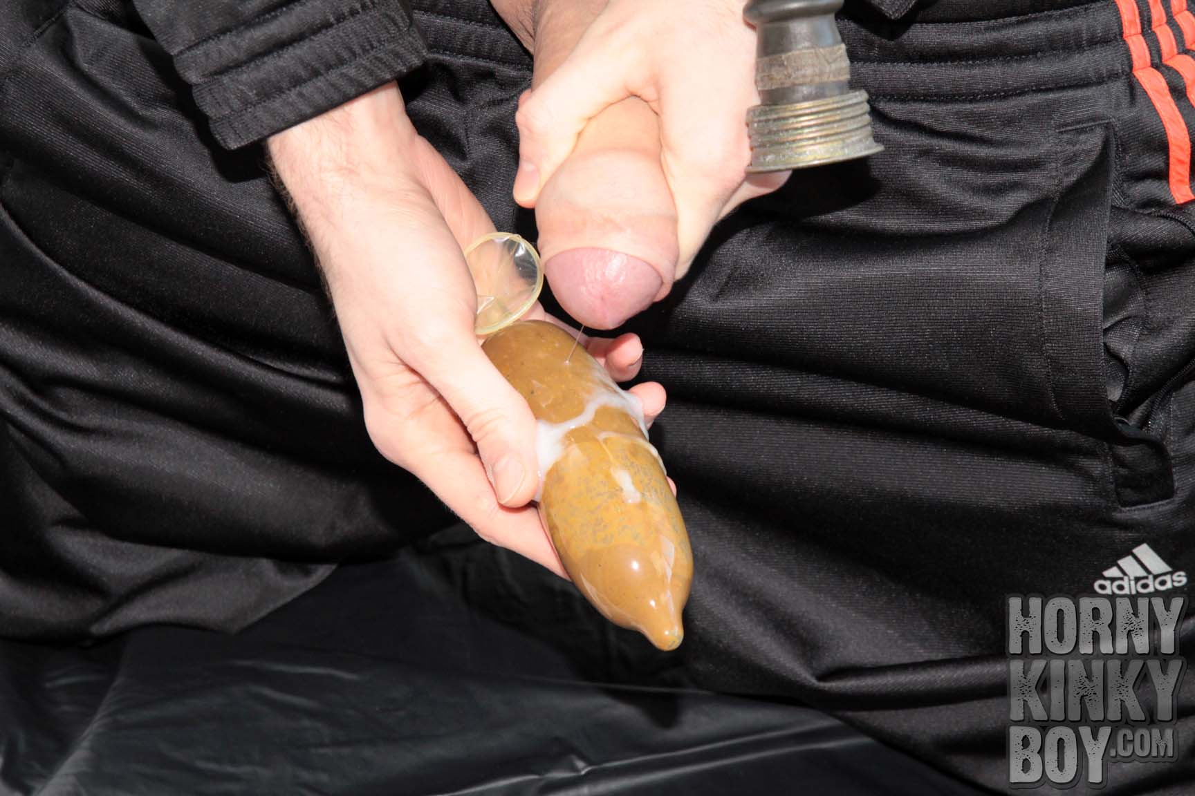 Gear Fetish Boy Loving His Condoms Full Of Crap