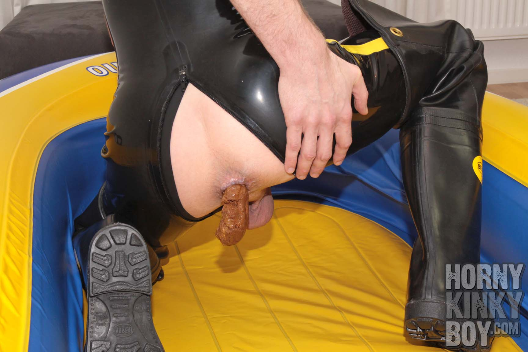 Dumping Into Inflatable Dinghy In Rubber Shorty And Waders