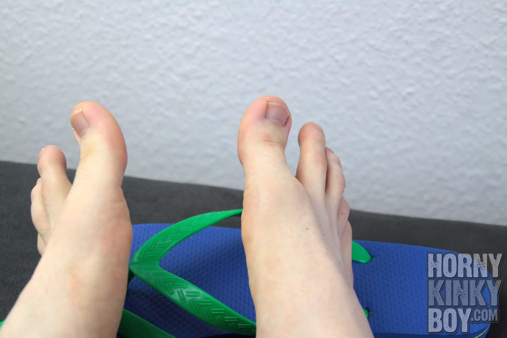 Naked Boy Feet In Flip Flops