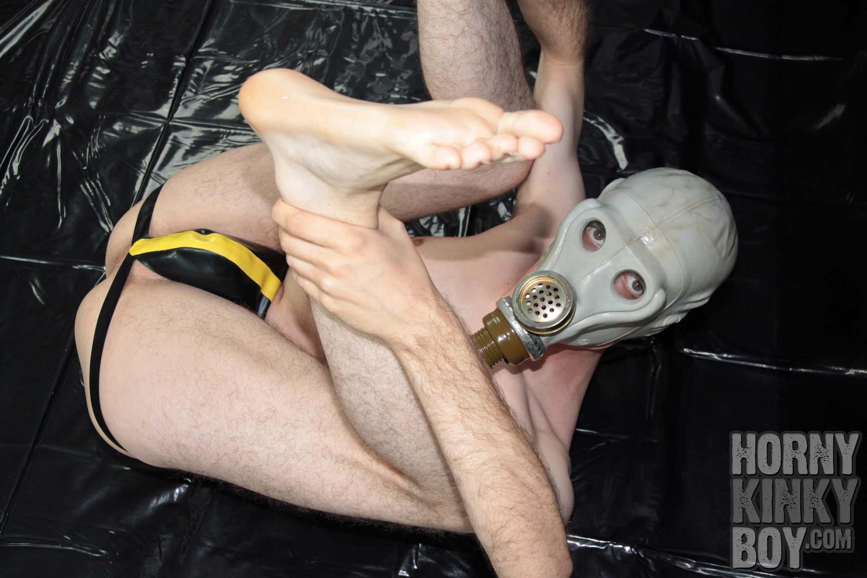 Few Shots Of A Guy Wearing A Grey Monkey Gas Mask