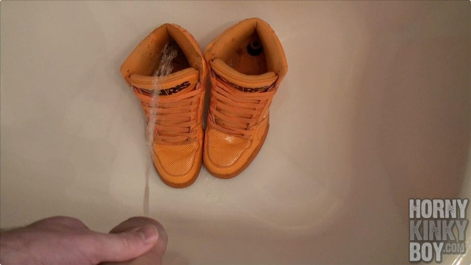 Giving My Orange Sport Sneaks A Piss Douche