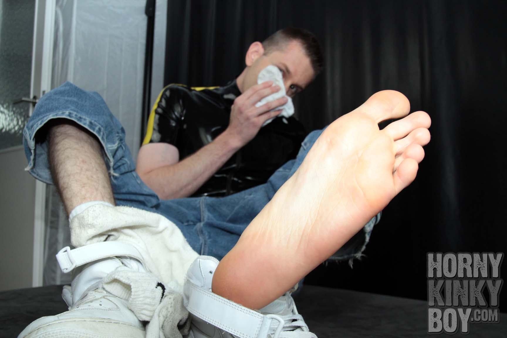 Rubber Skater Sniffs His Extreme Smelly White Socks