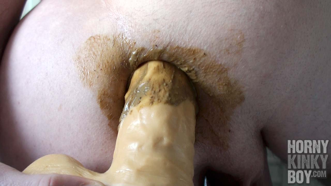 Fag Is Fucking His Brown Scat Pussy With A Dildo