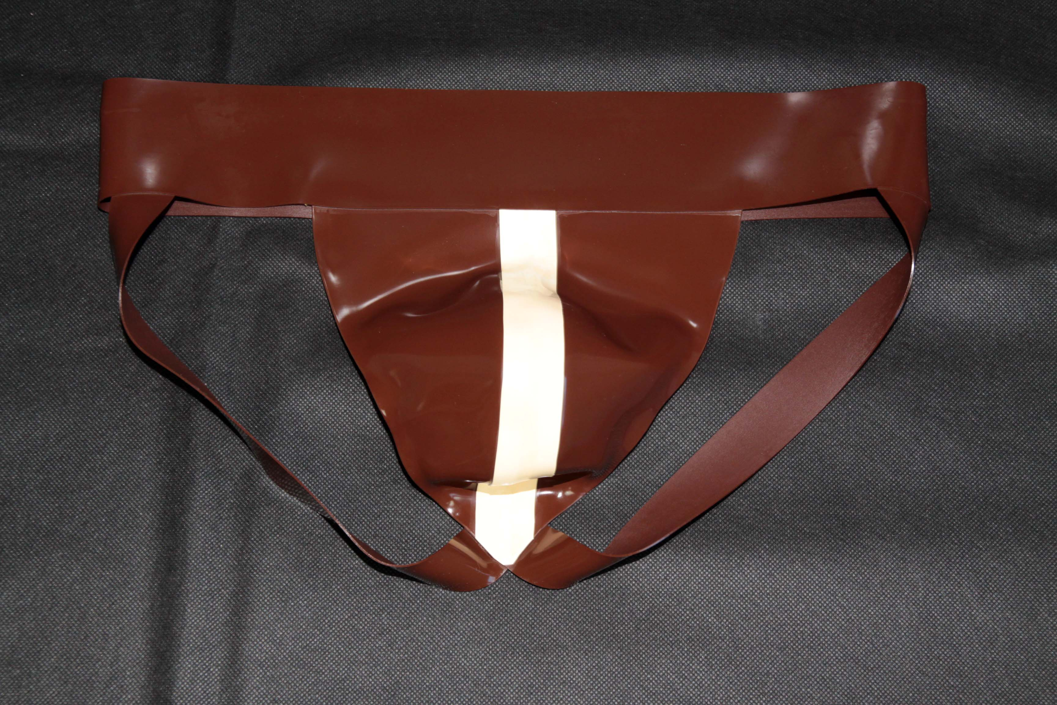 Rubber Jock – Brown With White Stripe