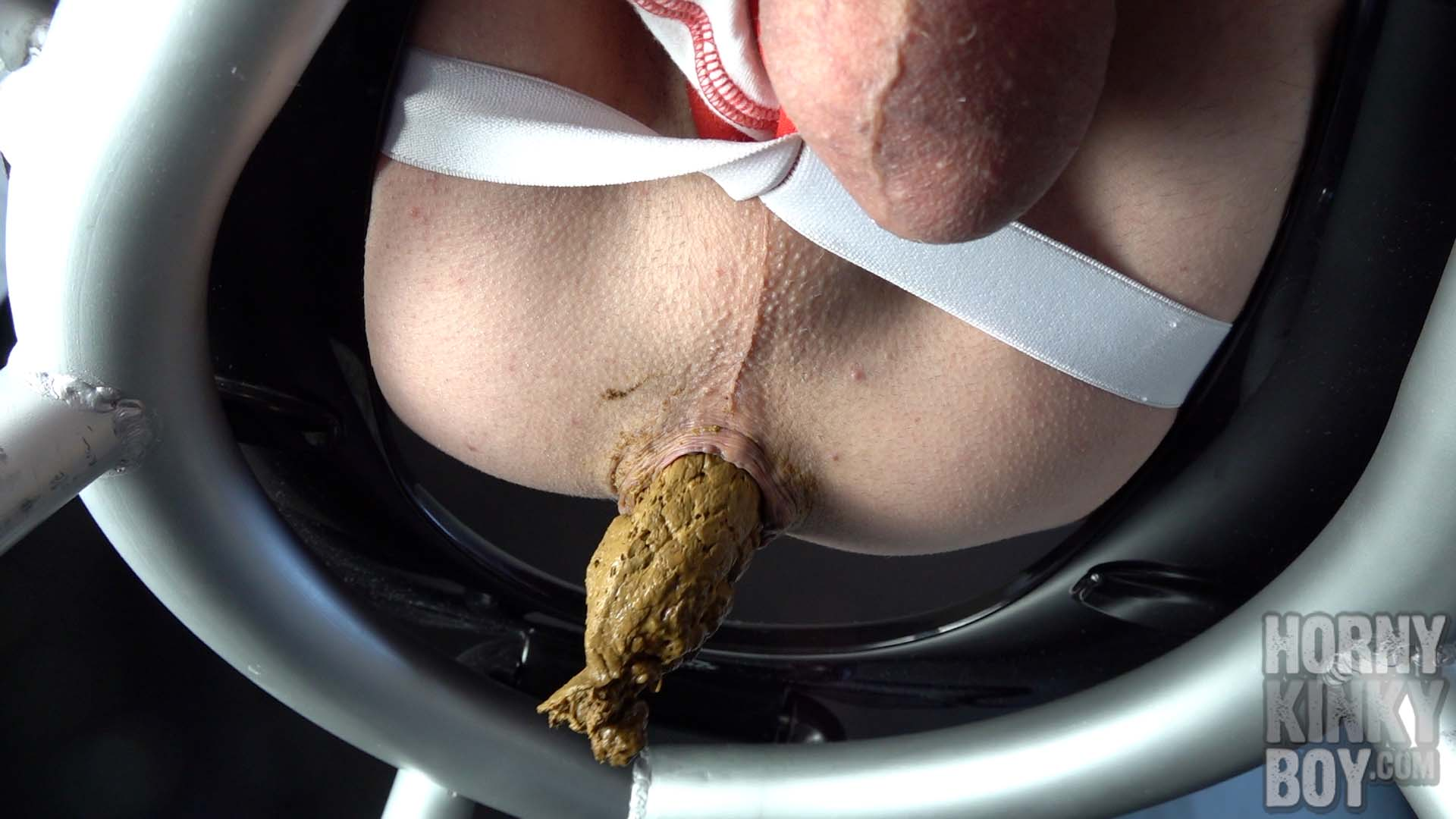 Male Jockstrap Butt Play On Poop Chair