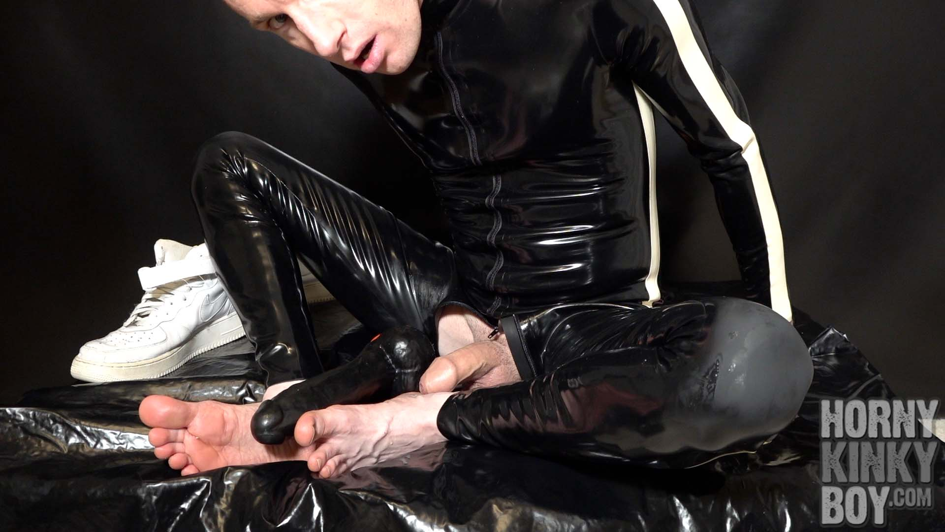 Sweaty Feet Cumshot And Dildo Play In Latex Suit