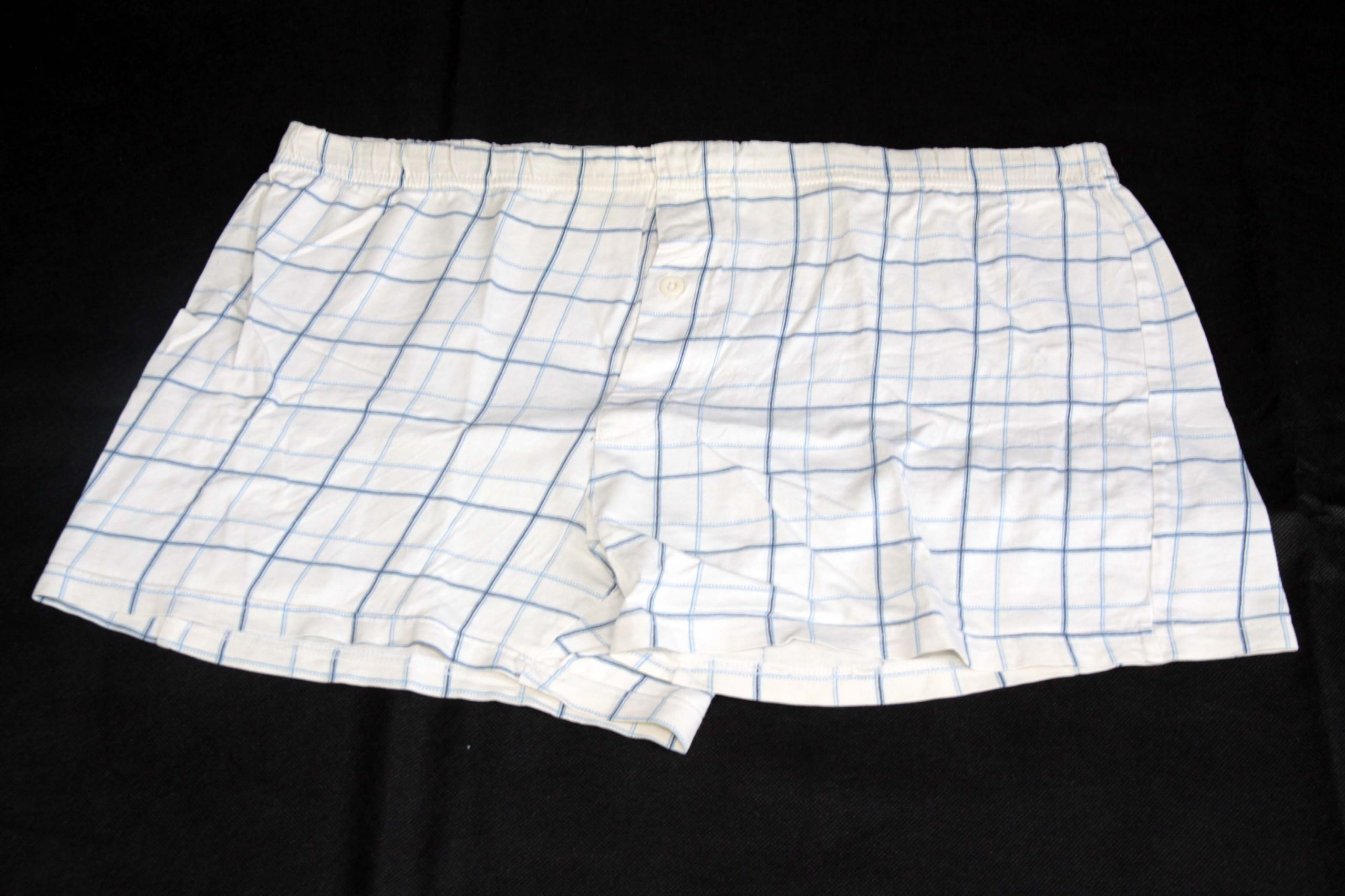 Boxer Shorts – White With Blue Pattern
