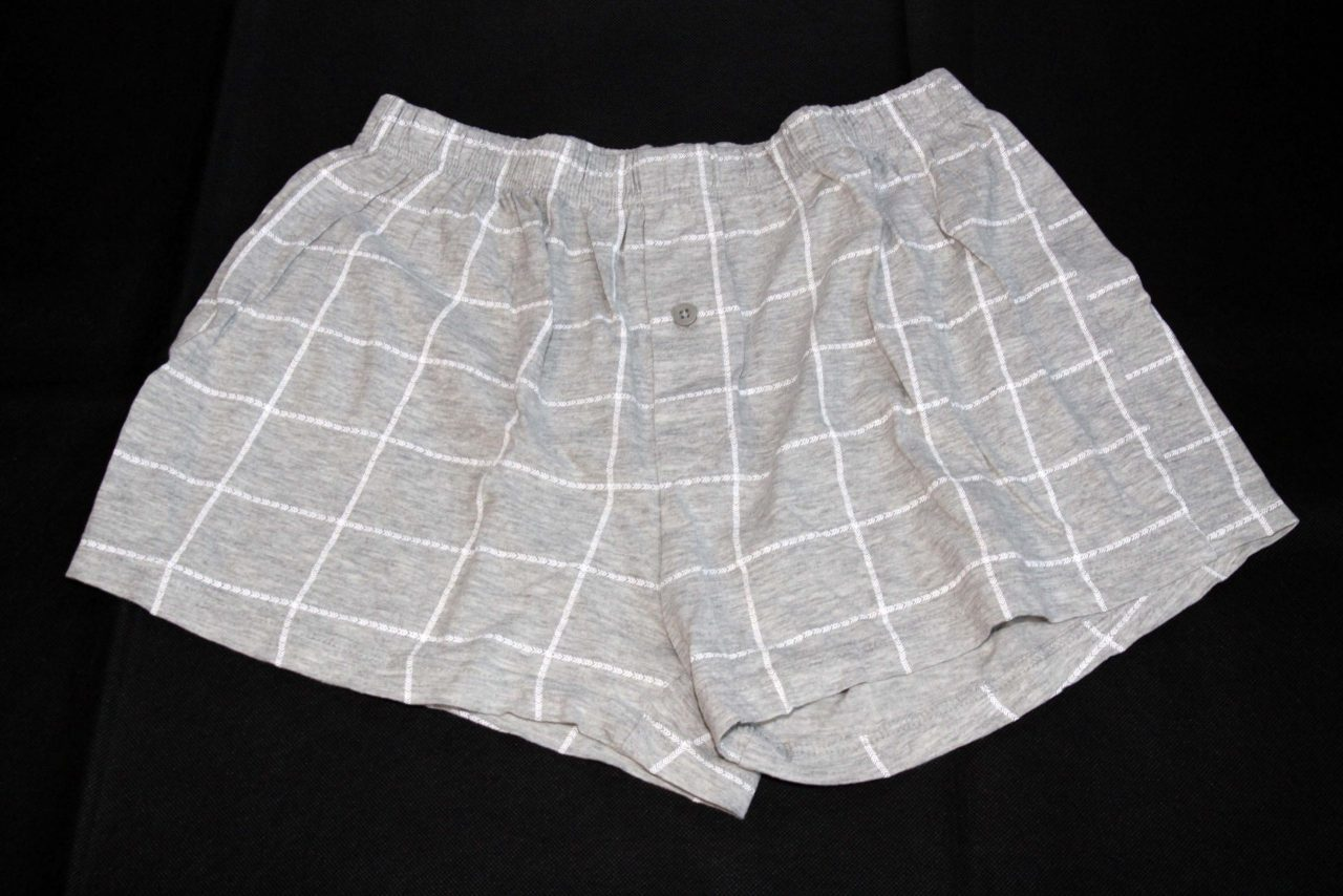Boxer Shorts – Grey With White Pattern