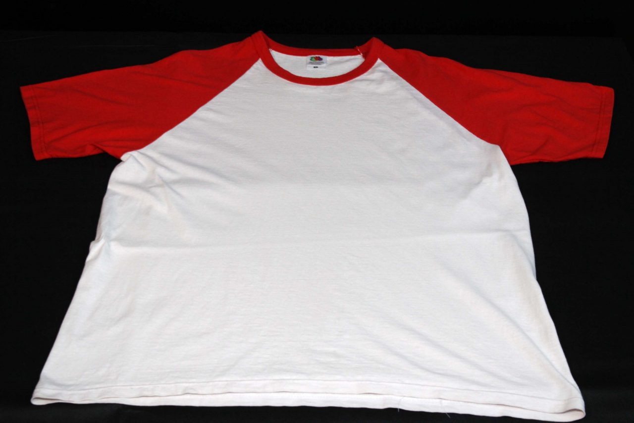 Baseball T-Shirt – White With Red Sleeves – Heavy Used